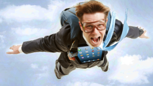 A man flying in the clouds with an ipad attached to his chest looking panicked.